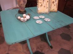 Painted and waxed duncan phyfe table Repurposed Furniture, Painted Furniture, Duncan Phyfe Table, Dining Room Table Chairs, Drop Leaf Table, Vintage Table, Furniture Makeover, Home Projects, Turquoise