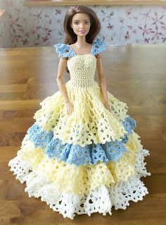Crocheted ball dress for Barbie-doll - Inspiration: Annie's Ms. November modified for play.
