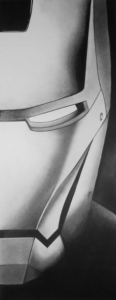 Iron man drawing made from shading pencils