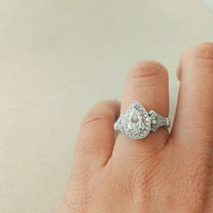 Wedding Rings To Match Pear Shaped Engagement Ring Pear Diamond Rings, Pear Shaped Diamond, Pear Shaped Engagement Rings, Diamond Engagement Rings, Elephant Ring, Wedding Day, Wedding Rings, Jewelry Rings, Jewellery