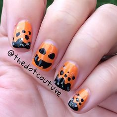 Easy jack-o-la term nail art. Colours used are #Revlon 'Tangerine,' #ChinaGlaze 'Liquid Leather,' and #OPI 'Pirouette My Whistle.'