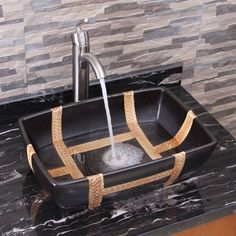 Elite Elimax's 2009+882002 Rectangle Matt Black Porcelain Ceramic Bathroom Vessel Sink With Faucet Combo (