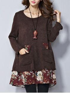 Pocket Casual Floral Patchwork Long Sleeve O-neck Dress Online - NewChic