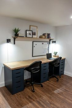 DIY Desk Top for a Home Office - Shades of Blue Interiors Diy Office Desk, Ikea Office, Home Office Setup, Home Office Space, Home Office Desks, Office With Two Desks, Blue Office Decor, Bedroom Office Combo, Interior Office