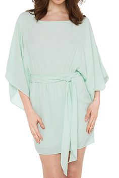 Solid Color Chiffon 3/4 Neck Dress