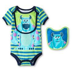 Disney Sully Newborn Bodysuit & 2 Bibs - Green
