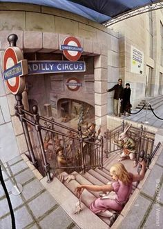 Edgar Mueller is a German street painter, known for creating three-dimensional illusions on city sidewalks and streets. His draws are in England, Germany, Russia and many more places. It took 5 days for Edgar to finish every project.