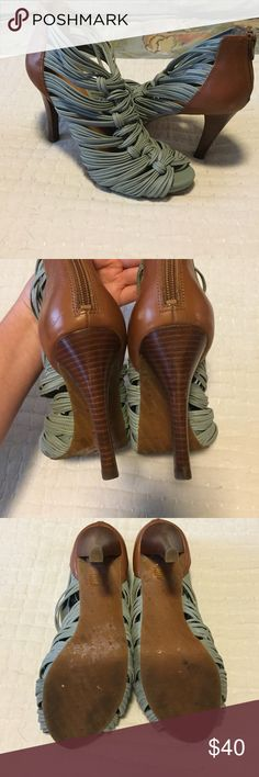 Gianni Bini robins eggs blue strappy heels Pretty robins egg blue shoe with cognac heel. Excellent condition! Very comfy. Gianni Bini Shoes Heels