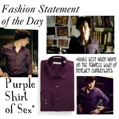 """Sherlock-Purple Shirt of Sex"" by companionclothes on Polyvore"
