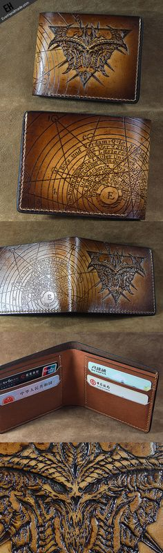 Handmade diablo3 diablo short wallet carved custom personalized leathe | EverHandmade