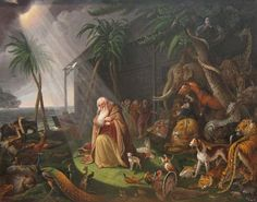 Both Noah and Manu are described as virtuous men.  'Noah and his Ark' by Charles Wilson Peale, 1819