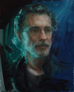 Ignat Ignatov, Man in Green Light, Oil, 20x16