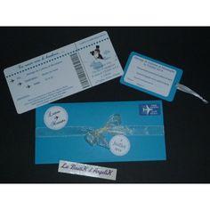 Faire-Part et carton réponse personnalisable présenté dans une pochette assorti au thème de votre cérémonie de mariage, Baptême ou anniversaire