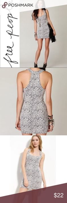 Free People grey animal print dress Free people leopard print gray white stretchy knit tank bodycon dress mediumcondition: excellent condition. Thicker fabric great for fall and layering! Free People Dresses Mini