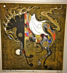 "ORIGINAL JAPANESE WOODBLOCK PRINT TADASHI NAKAYAMA LIM.ED. ""RIDING HORSE"" 1969"