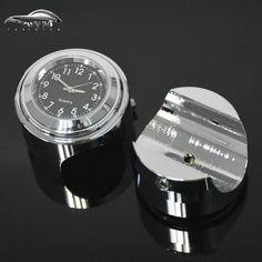 "Waterproof 7/8"" Chrome Motorcycle Handlebar Mount Quartz Clock Watch for Harley Davidson Honda Yamaha Suzuki Kawasaki 1pcs"