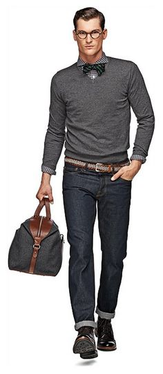 Grey V-Neck, bow tie, plaid shirt, Brwin Laceup boots, and Brown Leather Duffle Bag. Men's Fall Winter Fashion.