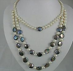16-22 black and white pearl necklace