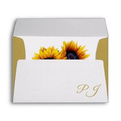 Elegant sunflower modern rustic wedding envelope