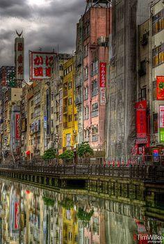 Dotonbori river, Osaka. Shot from the Ebisubashi bridge. When the Hanshin Tigers last won the Japan series, fans dived into this river.