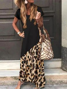 Women's Plus Size Casual Round Neck Splicing Print Round-Neck Printed Maxi Dress - Women Outfits Day Dresses, Casual Dresses, Fashion Dresses, Summer Dresses, Elegant Dresses, Pretty Dresses, Dresses Online, Formal Dresses, Wedding Dresses