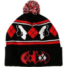 DC Comics Harley Quinn Batman Logo Pom Beanie Hot Topic ($15) ❤ liked on Polyvore featuring accessories, hats, logo hats, beanie cap hat, logo beanie hats, fair isle beanie and beanie hat