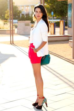 Red skirt + ikat print heels~love this look sexy and elegant