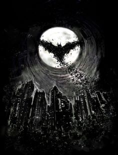 Dark Knight Rises by David Sharp, via Behance. #Batman -- like a reverse bat signal, Gordon knows Batman is out because he scares the bats out of the cave and Gordon sees them against the moon? If not in this story, in another one.  Message from Kayley--this is my most Re-Pinned Pin, why in the world does everyone Re-Pin this? Why do you like it? If you're reading this, please comment down below! Thanks!