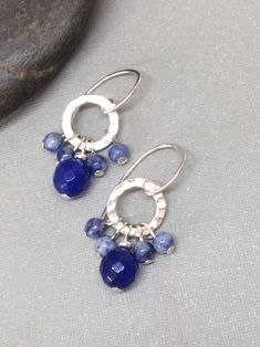 Sterling Silver Threader Earrings made with Light Blue Cloisonne Beads and Silver Crowns