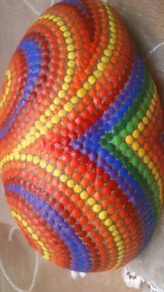 Dot painting stone RAINBOW COLORS of by AnkesSteinemalerei on Etsy