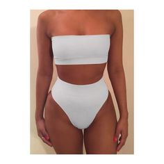 Rotita Strapless Bra and White High Waist Panty Swimwear ($15) ❤ liked on Polyvore featuring swimwear, bikinis, white, patterned bikini, high waisted swim wear, white high waisted bikini, two piece bikini and white two piece