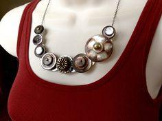 Asymmetrical Smokey MOP button necklace by lastingattachments