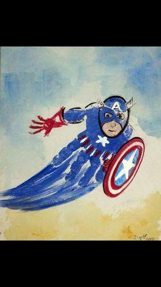 Captain America handprint toddler craft