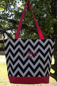 Monogrammed Black and White Chevron Tote with Pink Trim | The Old Bag's Bags