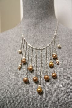Gold Pearl and Ivory Pearl Dangle Necklace by LinksLocks on Etsy, $20.00