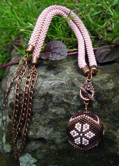 """Idilko, """"Olives and Chain"""" bead crochet rope and beaded bead"""