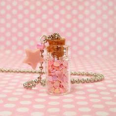 Kawaii Fairy Kei Necklace Pink Star Bottle by blacktulipshop, $7.50