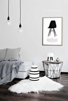 interior design coupling mostly white (or muted palettes,) with modern, clean decor
