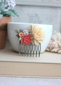 Bridal Hair Comb. Ivory Rose, Coral Sakura, Vintage Inspired Rhinestone, White Pearl, Brass Leaf. Coral Ivory Wedding. Bridesmaids Jewelry.