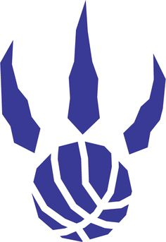 Toronto Raptors Basketball Alternate Logo (1996) - A purple raptor paw print with basketball seams