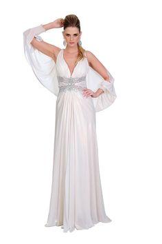 Vestido longo de musseline metalizada perfeito para noivas que buscam um vestido casual. Cod. 00603
