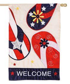 Look at this #zulilyfind! 'Welcome' Patriotic Flip-Flop Outdoor Flag #zulilyfinds
