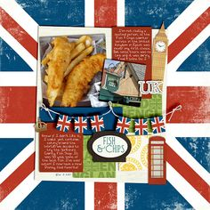 """Fish & Chips"" at Epcot -- food & travel scrapbooking layout"