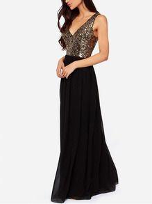 Black V Neck Sleeveless Sequined Maxi Dress