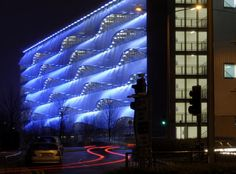 Illuminated Tensile Fabric Facade - MSCP Cardiff - Base Structures