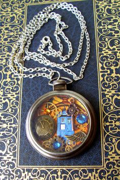 Steampunk Art Pocket Watch Piece (N201) - Doctor Who TARDIS - Clockface and Gears - Swarovski Crystals - Antique Silver Case with Chain on Etsy, $38.00