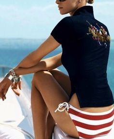 very sexy red white bikini swimsuit by Ralph Lauren paired with elegant black polo. she looks casual but chic Supernatural Style Ralph Luaren, Estilo Navy, Valentina Zelyaeva, Foto Fashion, Ralph Lauren Style, Polo Ralph Lauren, Nautical Fashion, Nautical Style, Mode Inspiration