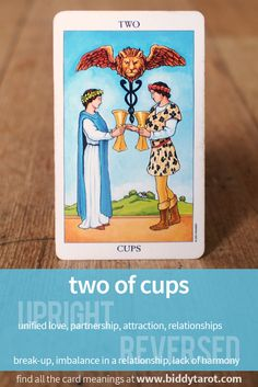 Two of Cups #tarotcardmeaning learn more at http://www.biddytarot.com/tarot-card-meanings/minor-arcana/suit-of-cups/two-of-cups/