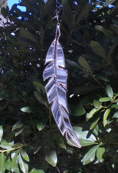 Feather White Stained Glass by ToddMikeGlass on Etsy, $15.00