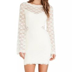 NWT | Ivory Body Con Dress by FREE PEOPLE NWT | FREE PEOPLE Lovely In Lace Body Con Dress. Curve hugging ivory fitted dress with a lace overlay. Sheet cutouts and long bell sleeves. Round neckline. Keyhole cutouts at back with button-loop placket. Scalloped hemline falls at mid-thigh. Inner lining. *SMOKE FREE HOME*                                                   95% nylon, 5% spandex.  Lining: 96% rayon, 4% spandex. Hand wash cold, dry flat. Imported Length: 34 Inches Free People Dresses…